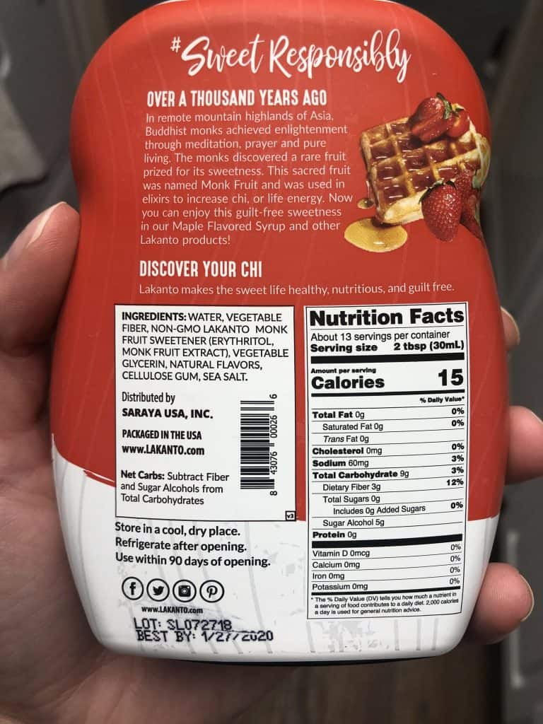 Nutrition facts on the back of the Lakanto Monkfruit Sweetened Maple-Flavored Sweetener Bottle